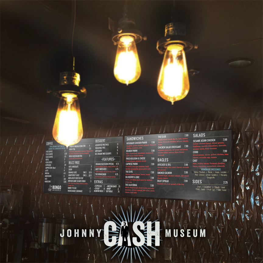 Digital Menus at the Johnny Cash Museum